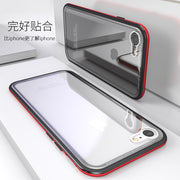 Magnetic Flip Phone Case For IPhoneX 8 7 6 Plus Clear Tempered Glass + Built-in Magnet Case For IPhone 6s 7 8 Plus Metal Cover