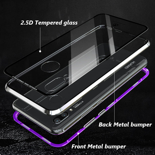 Magnetic Metal Glass Cover For Huawei Nove3i Case Nova3 E 9H Tempered Metal Frame Flip Luxury Cases For Huawei Nove 3E P20 Lite