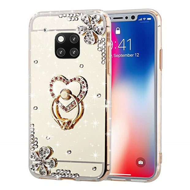 Mirror Crystal Phone Case Cover For Huawei P20 Lite Mate 20 9 10 Pro Honor 9 Lite 8X Max P9 P Smart Plus Y5 Y6 Y7 Prime 2018