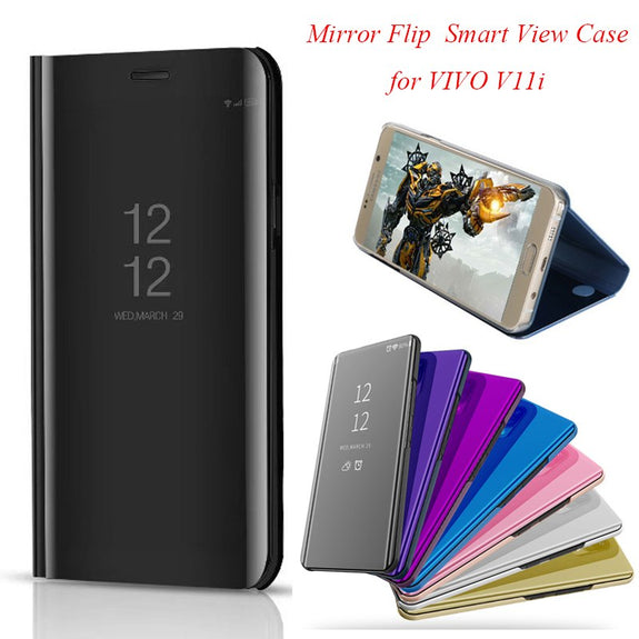 Mirror Flip Case For Vivo V11i Luxury Clear View PU Leather Cover For ed5c9ee55464