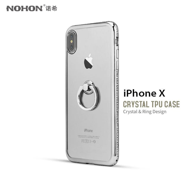 NOHON Bling Luxury Diamond Frame Case TPU For IPhone 7 7Plus 8 Plus X Transparent Soft Case With Finger Rings Holder Kickstand