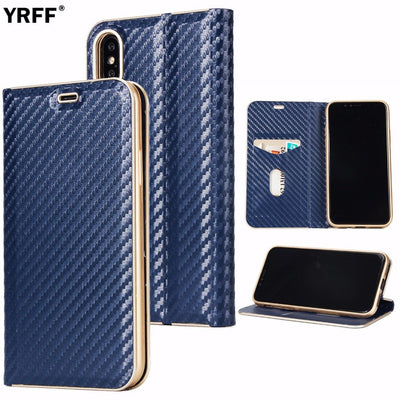 New Business Carbon Fibre Phone Cases For Iphone 8 Leather Magnet Cover For Iphone 8 Case