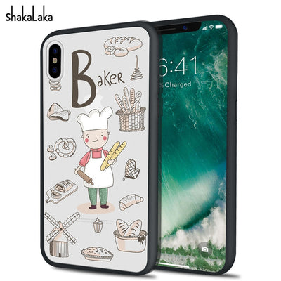 New Arrival Cute Cartoon Baker Bread Design Phone Case For Iphone X 5 5s SE 6s 7 8 Plus Profession Hard Acylic Cover Capa Case