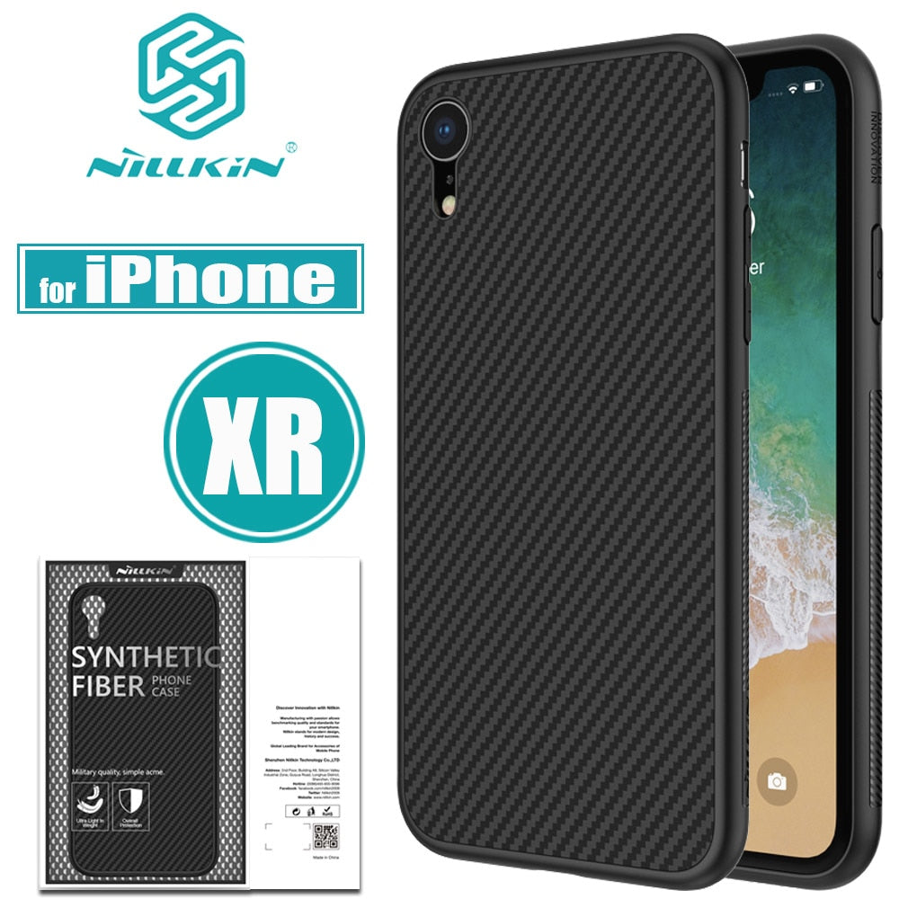 new product 33180 9c784 Nilkin For IPhone XR Cases Nillkin Synthetic Carbon Fiber PP Plastic Smart  Phone Back Bag Case Cover For Apple IPhone XR Capa