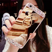 OPPO Find X Case For OPPO Find X Diamond Mirror Soft Crystal Finger Ring Rhinestone Phone Case For OPPO Find X Case Find X