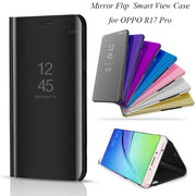OPPOR17 Pro Smart Flip Stand Mirror Case For OPPO R17 Pro Case R17Pro Clear View PU Leather Cover For OPPO R17 Pro Case Cover