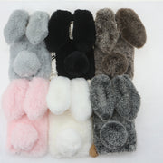 OnePlus 6 3D Cute Cover Hairy Warm Fur Case Soft Rabbit Fluff For One Plus Case Silicon TPU Case Covers Doll Plush Shells Origin