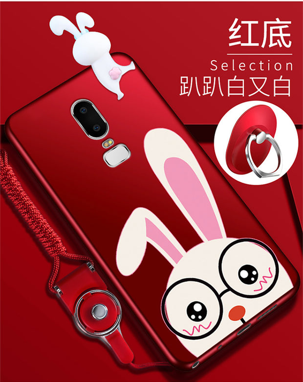OnePlus 6 3D Minnie Phone Cases For One Plus 6 / 1+5T Cute Cartoon Soft Silicone Minnie Back Cover +Strap