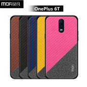 Oneplus 6T Case Cover Mofi One Plus 6T Case PC +TPU + Cloth Back Cover Thin Red Black 1+6T Oneplus6T Case Capa Coque Funda