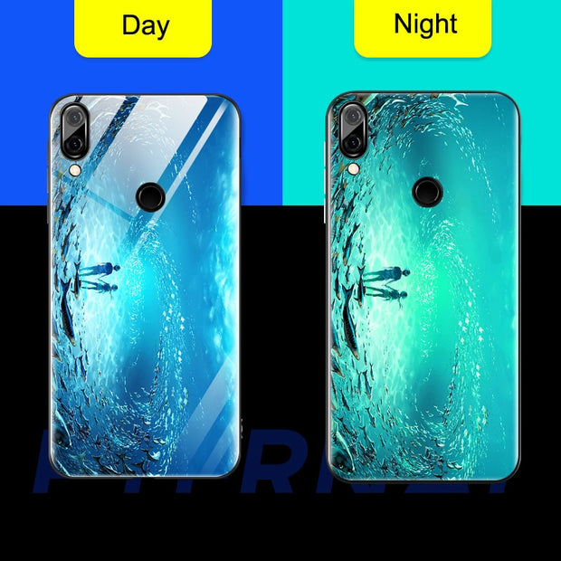 P Smart Plus Luminous Tempered Glass Case For Huawei Honor Play Note 10 Nova 3 3i 3e Case 9H HD Pattern Glowing In Night Cover