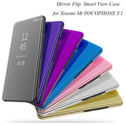 POCO F1 Mirror Flip Case For Xiaomi Mi POCOPHONE F1 Luxury Clear View PU Leather Cover For Xiaomi POCOPHONE F1 Smart Phone Case