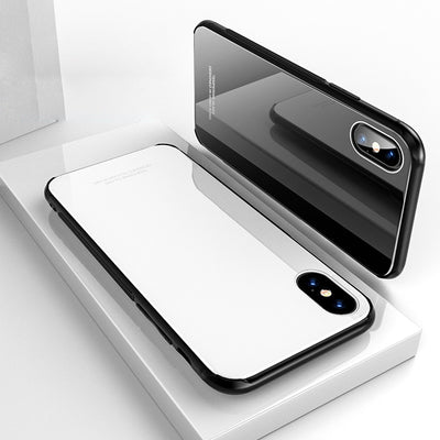POMER Tempered Glass Case For IPhone X 8 Plus 7 Full Coverage Hard Glass Back Cover Soft TPU Silicone Bumper Case For IPhone 8 7