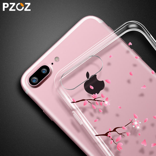 PZOZ For IPhone X 8 7 6 6S Plus 5 5S SE Case Rhinestone Glitter Silicone Phone Protection Back Cover Luxury Diamond Soft Shell