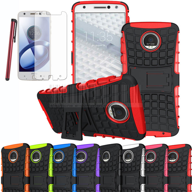 Phone Case For Motorola Moto Z Droid XT1650 Mix Color Hybird Impact PC+TPU Rubber Armor Shockproof Protective Cover With Films