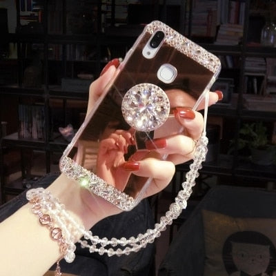Phone Cases For Samsung A3 A5 A7 J3 J5 J7 2016 2017 A8 Luxury Glaring Sparkle Bling Diamond Stand Soft Mirror Anti-Fall Cover
