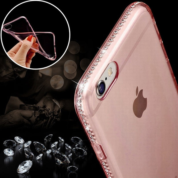 Portefeuille For Iphone 7 Case Silicone Transparent Clear Cases For Iphone 8 Plus XS Max XR IPhone7 Cover Rhinestone Accessories