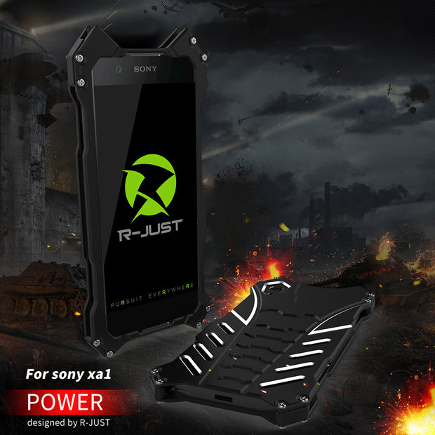 R-JUST Luxury Armor Heavy Duty Batman Cover For Sony Xperia XA1 XZ Premium Case Fundas Metal Aluminum Coque Mobile Phone Cases