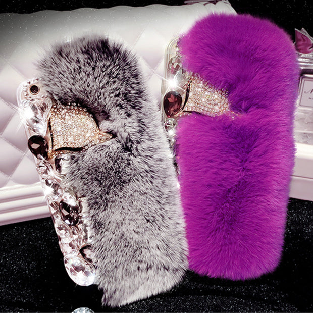 Rabbit Fur Case For IPhone 7 Case Luxury Bling Diamond Fox Head Cover For IPhone 6S Case For IPhone 5S 6 6S 7 8 Plus X XR XS Max