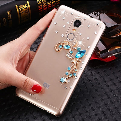 Redmi Note 4 Case For Xiaomi Redmi Note 4 Cover 5.5 Inch Blue Butterfly Flowers Rhinestone Back Cover Redmi Note 4 Phone Cases
