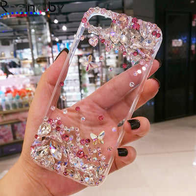 Rheinruby Bling Crystal Diamond Rhinestone Phone Case For IPhone X XS XR XS Max 7 8 8Plus 6 6S 6Plus 5 5S SE Phone Capa Cover