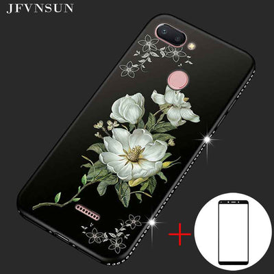 Rhinestone Case For Xiaomi Redmi 6 Cases 3D Relief Flower Pattern Silicone Back Cover + Redmi 6 Tempered Glass Screen Protector