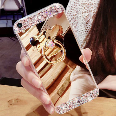 Rhinestone Case Mirror Soft TPU Bling Stand Phone Cover Clear For Samsung Galaxy S8 Plus S7 S6 Edge Plus S5 S4 S3 Note 8 5 4 3