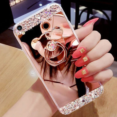 Rhinestone Case Mirror Soft TPU Bling Stand Phone Cover Clear For IPhone X 8 /7 Plus 6/6S Plus 5S 5 SE 4S 4 Coque Capa Fundas
