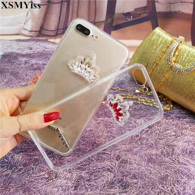 Rhinestone Crown Case Cover For SamsungS4 S6 S7 S8 S9 S5 S6/S7edge S8/S9plus Note N4 N5 N8 Diamond Soft Mobile Phone Case Cover