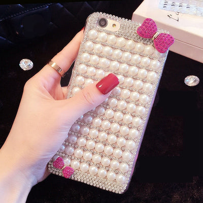 Rhinestone Bow Pure Pearl Phone Case For IPhone 6 6s 7 8 Plus X XS Max XR For Samsung Galaxy S6 S7 Edge S8 S9 Plus Note 5 8 9