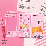 Sailor Moon Case For Huawei P20 Pro & Tempered Glass Film For Honor V10 Mate 9 10 Soft Silicone Cover For Nova 3e 2s Girl +strap