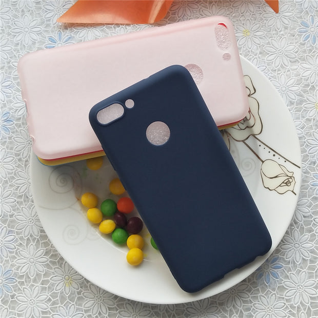 Simple Solid Color Back Cover For Huawei Enjoy 7S Macarons Color Silicone Frosted Matte Case For Huawei P Smart 5.65 Inch
