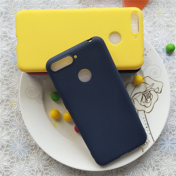 Simple Solid Color Back Cover For Huawei Enjoy 8E 5.7 Inch Macarons Color Silicone Frosted Matte Case For Huawei Enjoy 8E