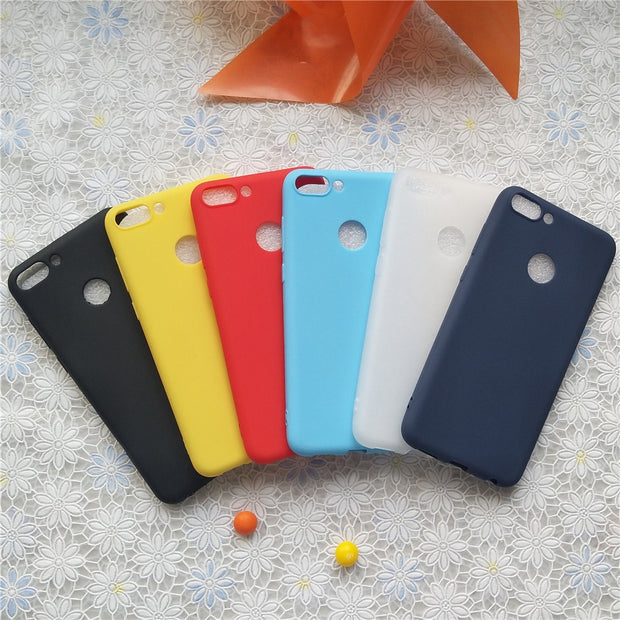 Simple Solid Color Back Cover For Huawei Nova Lite2 Macarons Color Silicone Frosted Matte Case For Huawei Enjoy 7S