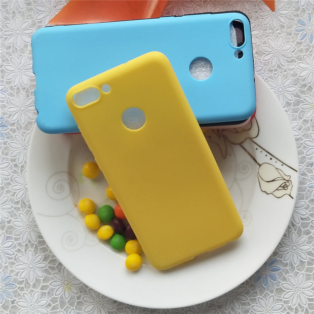 Simple Solid Color Back Cover For Huawei P Smart Macarons Color Silicone Frosted Matte Case For Huawei Enjoy 7S 5.65 Inch