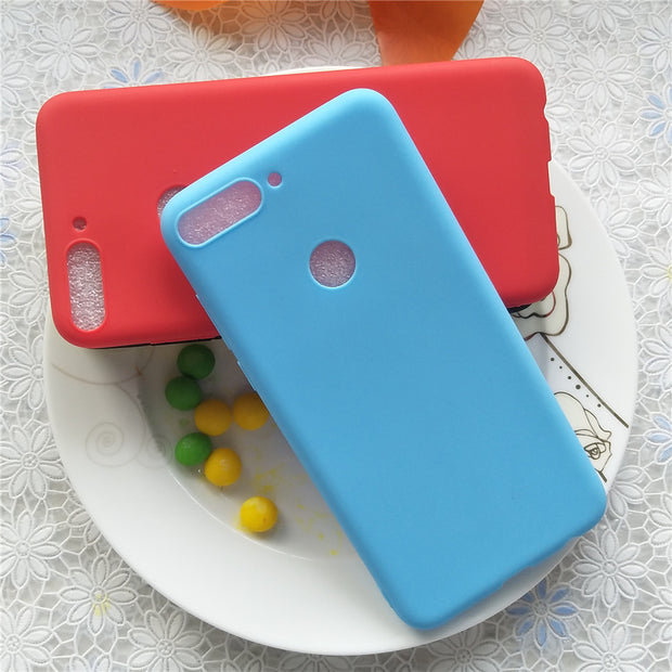 Simple Solid Color Back Cover For Huawei Y7 Pro 2018 5.99'' Macarons Color Silicone Frosted Matte Case For Huawei Enjoy 8