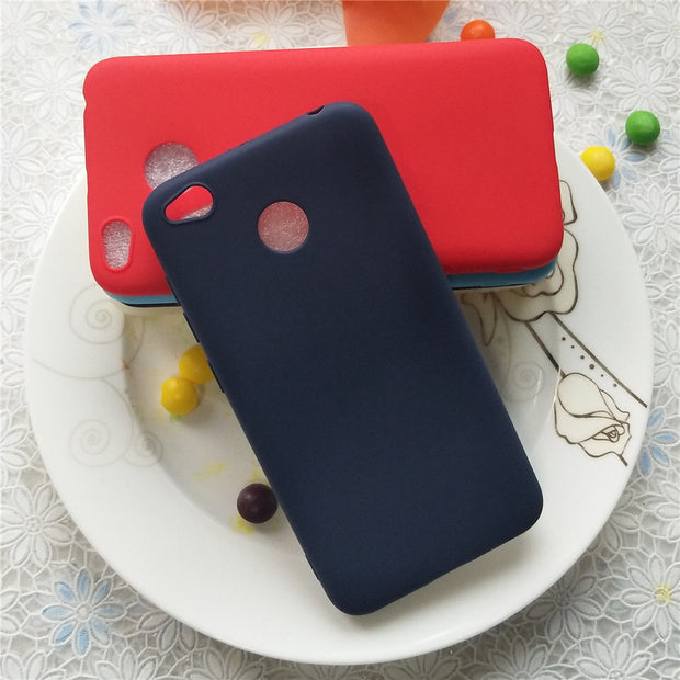 Simple Solid Color Back Cover For Xiaomi Redmi 4x 5.0 Inch Macarons Color Silicone Frosted Matte Case For Xiaomi Redmi 4x