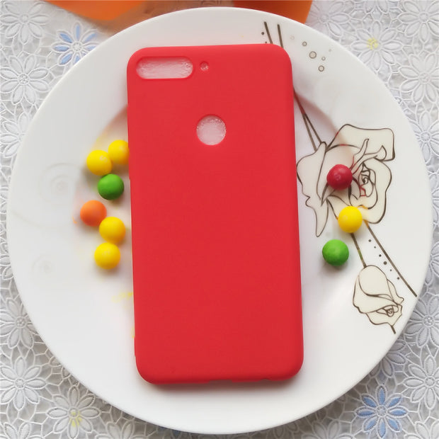 Simple Solid Color Soft Cases For Huawei Honor 7C Enjoy 8 Macarons Color TPU Silicone Frosted Matte Case For Huawei Enjoy 8
