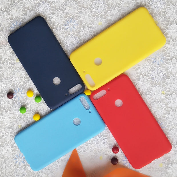 Simple Solid Color Soft Cases For Huawei Y7 Prime 2018 5.99'' Macarons Color TPU Silicone Frosted Matte Case For Huawei Enjoy 8