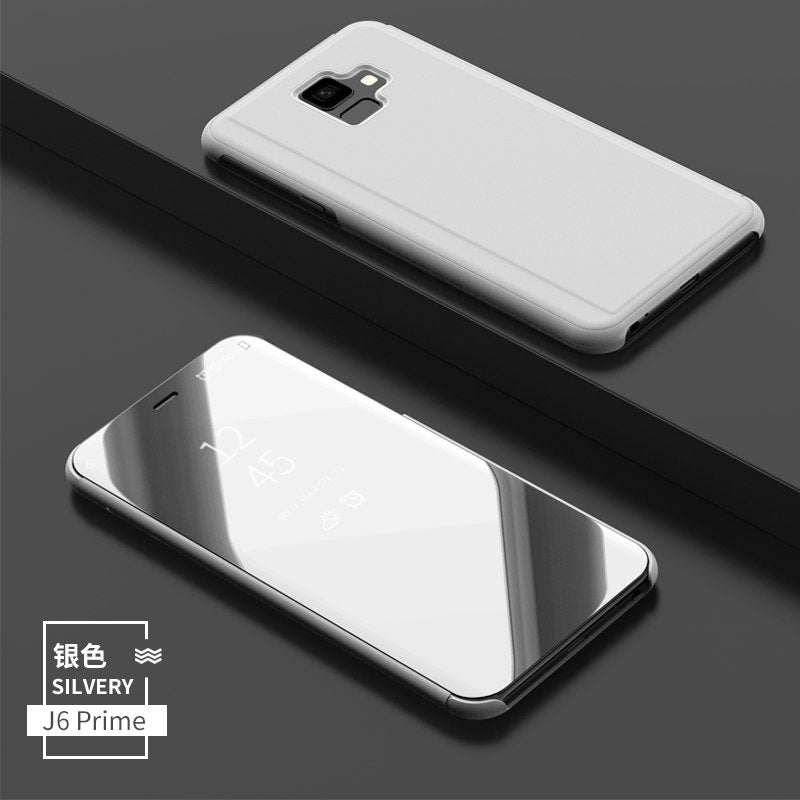 best loved f5daa 1e109 Smart Flip Stand Mirror Case For Samsung Galaxy J6 Prime Case Clear View PU  Leather Cover For Samsung Galaxy J6 Prime Case