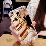 Soft TPU Glitter Diamond Makeup Mirror Case With Rotating Finger Ring Stand Holder For Apple IPhone 5 5S SE 6 6S 7 7G 8 Plus X