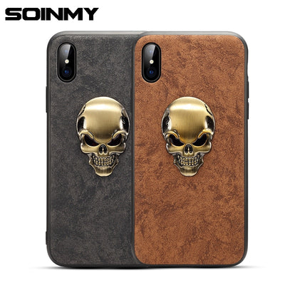 Soinmy 3D Skull Phone Cases For Iphone X Case Leather Luxury Back Cover For Iphone 6 6s 7 8 Plus 7plus 10 Case Coque Fundas Capa