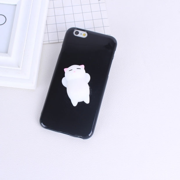 Squishy Mobile Phone Cases For IPhone 6 6s Plus Case Kitty Cat Lovely Soft Back Cover For IPhone 5 5S SE 7plus 8plus Case