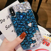 Sunjolly Bling Red Rhinestone Case Blue Crystal Diamond Phone Cover Shell Coque Fundas For Huawei P10/ P20 Lite P20 Plus P20 Pro