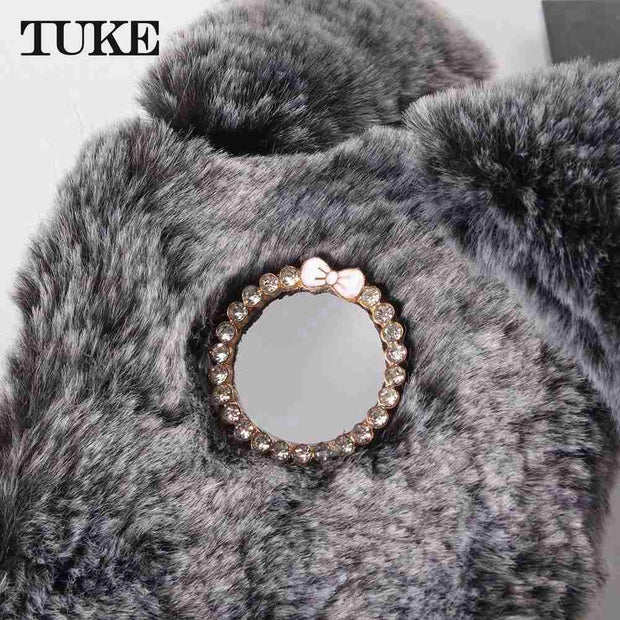 TUKE Fluffy Plush Warm Cell Phone Coque For Motorola Moto Z3 Play Fur Rabbit Diamond Cases For Motorola Moto Z3 Play Soft Case