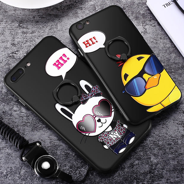 Vpower For IPhone 8 Plus Case 3D Relief Stereo Feeling Cat Print Cartoon Black Frame + Pc Back Case House For Iphone 8