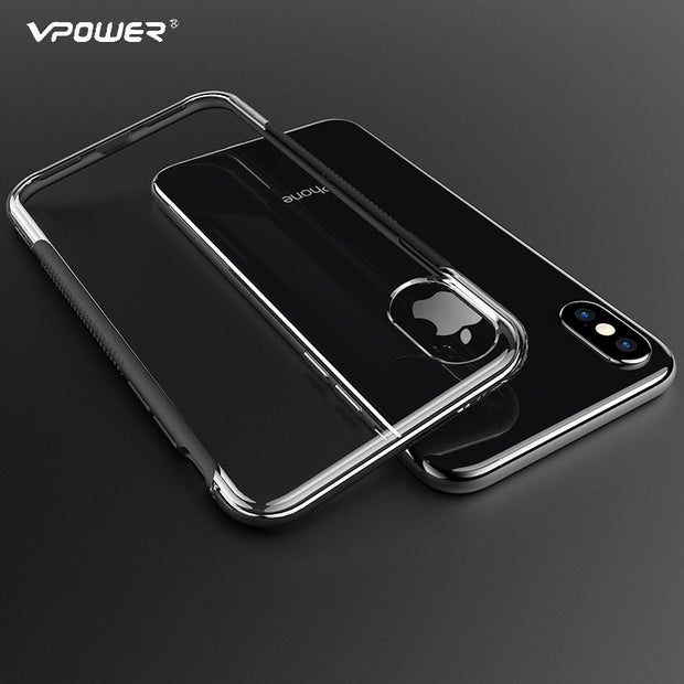 Vpower For IPhone X 10 TPU+PC Case, Transparent Clear Cover Case For IPhone X Case Double Protect Case