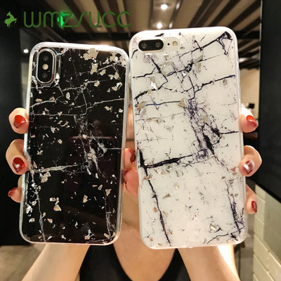 WMZSUCC Silver Foil Marble Glitter Soft Fitted Back Phone Case For IPhone X 8 8Plus 7 6 6s Plus Drop Shipping Wholesale