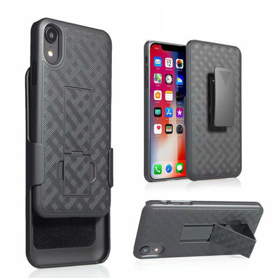"Woven 2 In 1 Hybrid Hard Shell Holster Combo Case With Kickstand & Belt Clip For IPhone XR 6.1""/iPhone XS MAX 6.5"""
