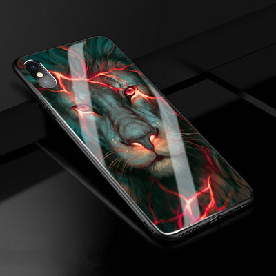 X Case Chinese Dragon Lion Wolf World Anti-explode Tempered Glass Back Cover Shock-Proof Case For Iphone X