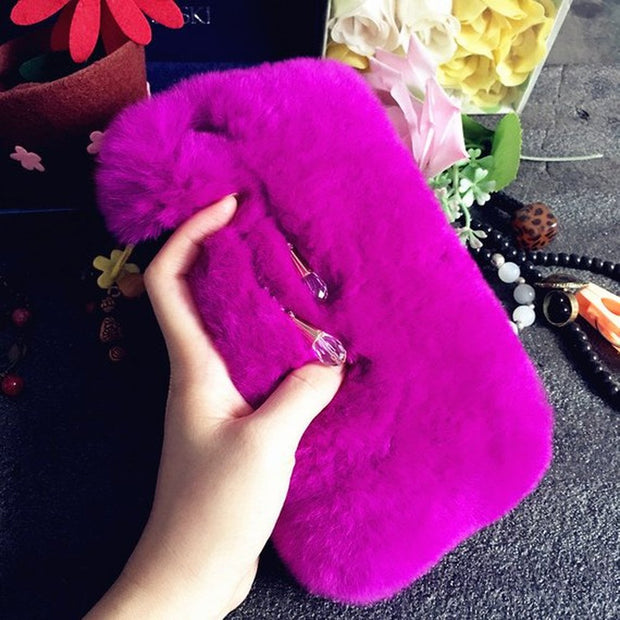 XINGDUO For Iphone Xs Max Case Soft Fluffy Fur Furry Sparkles Crystals Diamonds Gems Case For Iphone X/XS/XR/MAX/6/7/8/8 Plus